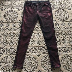 Metallic purple/ black Levis jeans